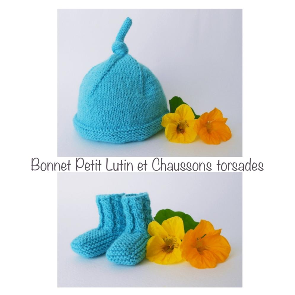 Bonnet Petit Lutin et Chaussons torsades