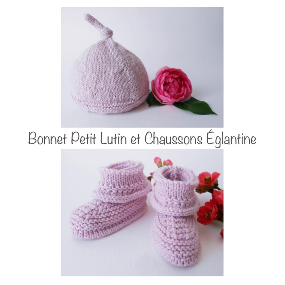 Bonnet Petit Lutin et Chaussons églantine