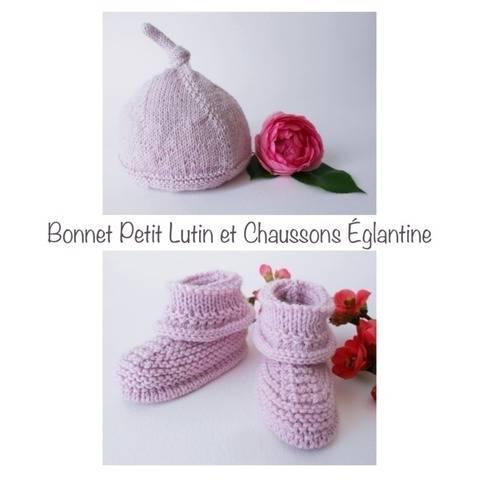 Bonnet Petit Lutin et Chaussons églantine - Tutoriel tricot