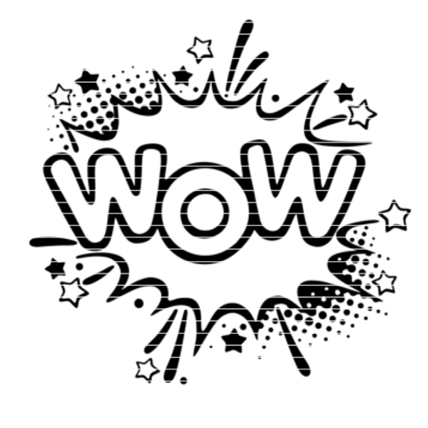 """Cutting file """"speech bubble WOW"""" for Ironing-picture SVG DXF"""