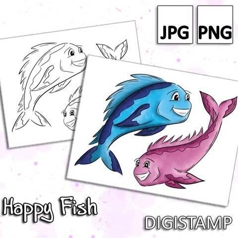 Happy Fish - DigiStamp
