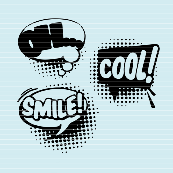 """Cutting file """"3 speech bubbles"""" for Ironing-picture SVG DXF"""