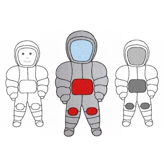Stickdatei Astronaut 2 Größen und 2 Varianten bei Makerist - Bild 1