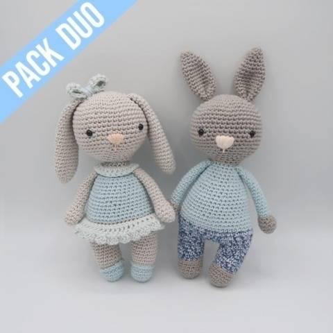 Câline + Câlin, les lapins • PACK Amigurumis crochet