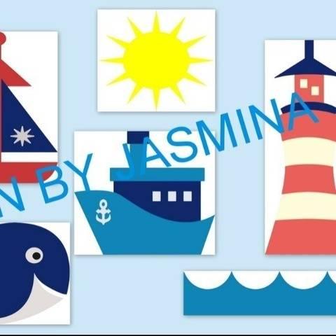 Plotterdatei  Maritim Urlaub Leuchtturm Segelboot  SVG
