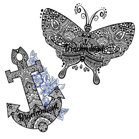 Plotterdatei Plott Mandala 2er Set Anker und Schmetterling