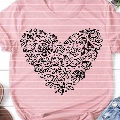 """Cutting file """"shell heart"""" for Ironing-picture SVG DXF"""