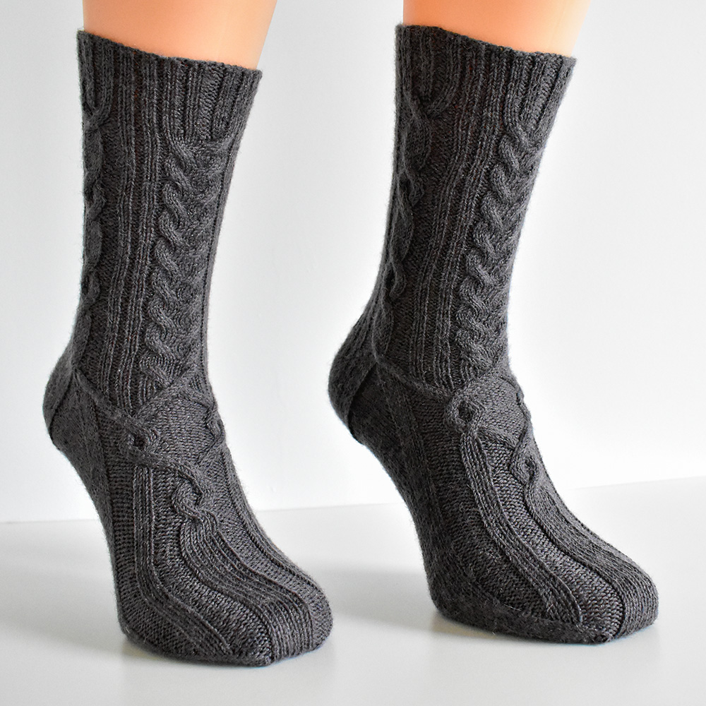Cabled sock knitting pattern PDF - Dementor