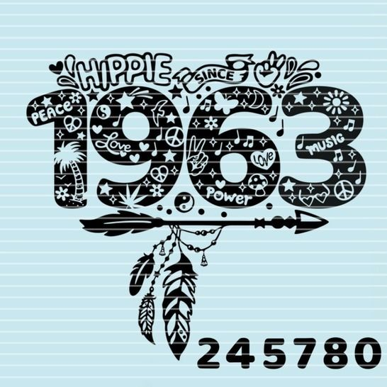 "Cutting file ""hippie since"" for Ironing-picture SVG DXF at Makerist - Image 1"
