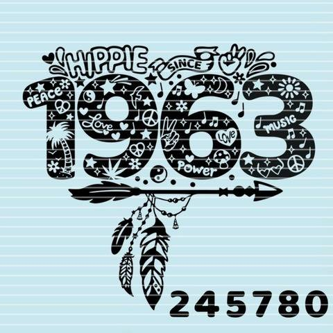 """Cutting file """"hippie since"""" for Ironing-picture SVG DXF"""