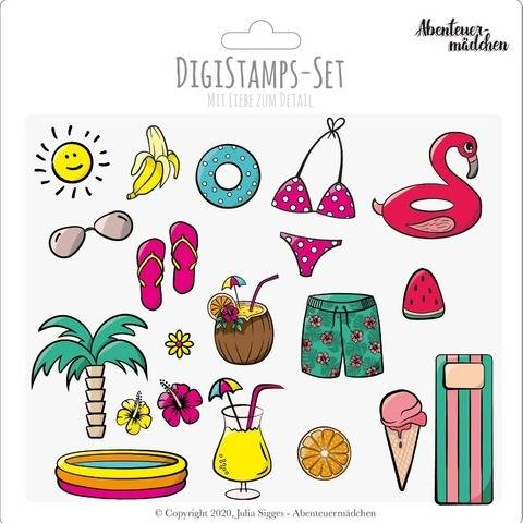 """Abenteuerliche Poolparty"" Digistamps + Digipapers"