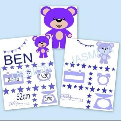Plotterdatei  Geburt Teddy Boy Sterne Template   SVG