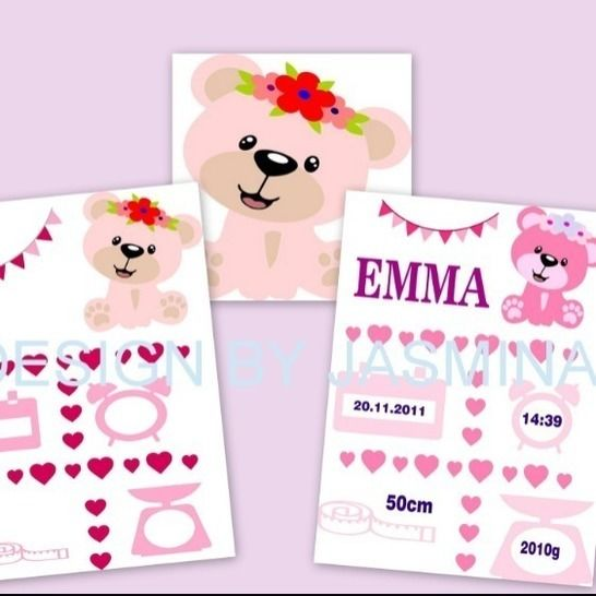Plotterdatei  Geburt Teddy Girl Herz Template   SVG bei Makerist - Bild 1