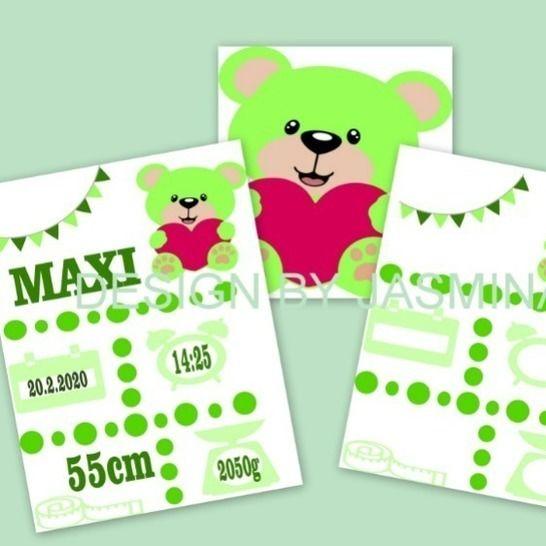 Plotterdatei  Geburt Teddy Punkte Template   SVG bei Makerist - Bild 1