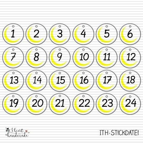 ITH-Stickdatei Anhänger für den Adventskalender (Mond)
