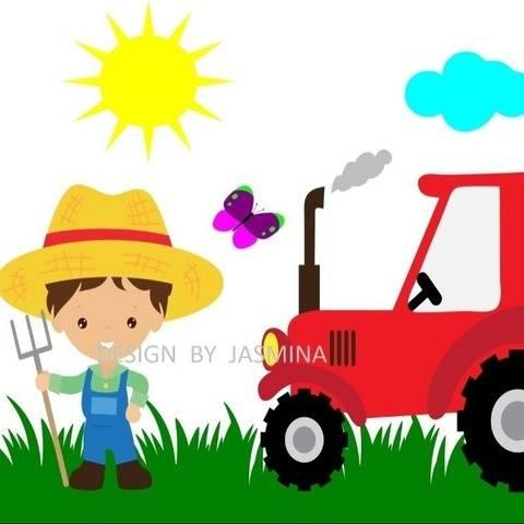 Plotterdatei  SVG  Bauer mit Traktor Bauernhof Set 4