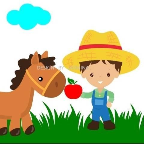 Plotterdatei  SVG  Bauer mit Pferd Bauernhof Set 5