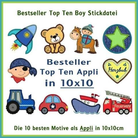 Stickdateien Top Ten BOY 10x10 Appli 13xAuto Teddy Feuerwehr