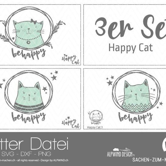 "Plotter-Datei ""Happy Cat"" (3er-Set) bei Makerist - Bild 1"