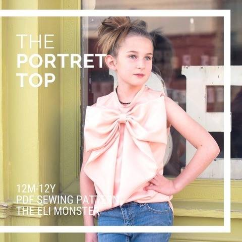 The Portret Top Blouse PDF Sewing Pattern, Sized 12m-12y