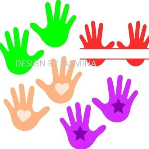 Plotterdatei  SVG  Baby Hände Herz Stern Monogramm