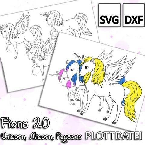 Fiona 2.0 - Unicorn, Alicorn, Pegasus - Plottdatei