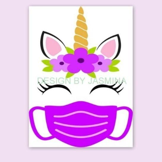 Plotterdatei Einhorn mit Maske / Virus SVG bei Makerist - Bild 1