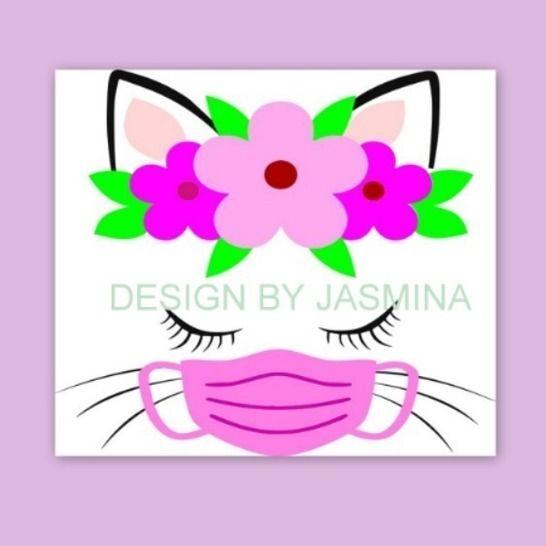 Plotterdatei Katze mit Maske / Virus SVG bei Makerist - Bild 1