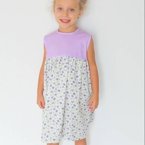 Gathered dress for girls sewing pattern