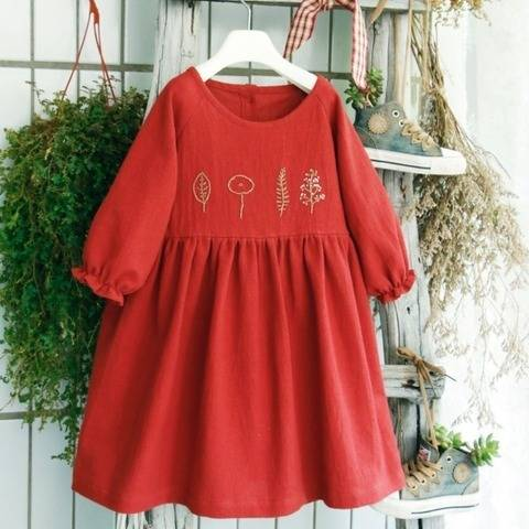 Embroidered Dress for Autumn