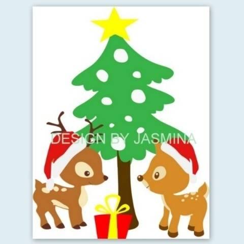 Plotterdatei Weihnachten Waldtiere Hirsch und Reh SVG