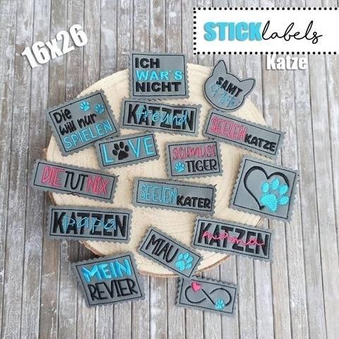 Stickdatei #Label Katze16x26 Rahmen