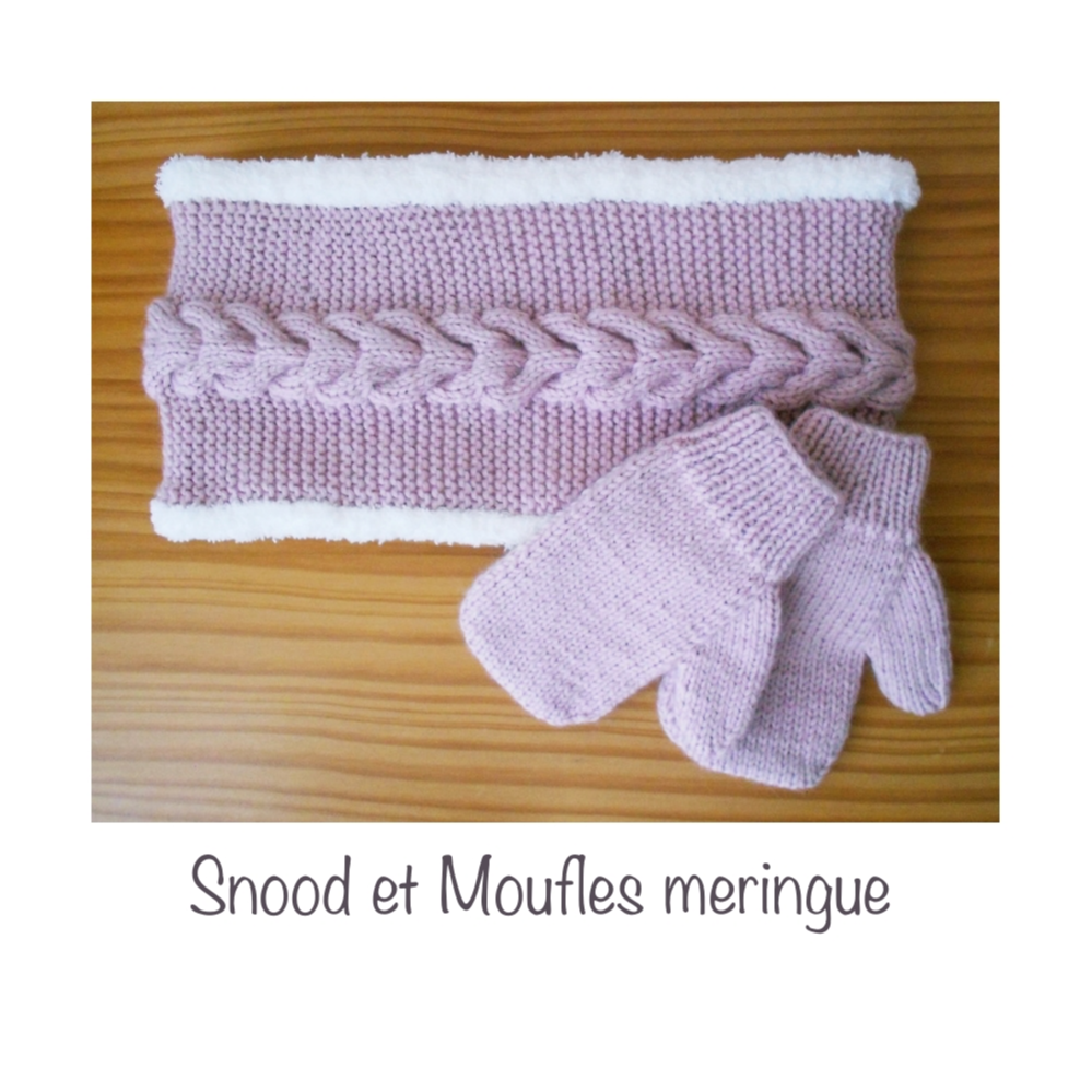 Snood et moufles meringue