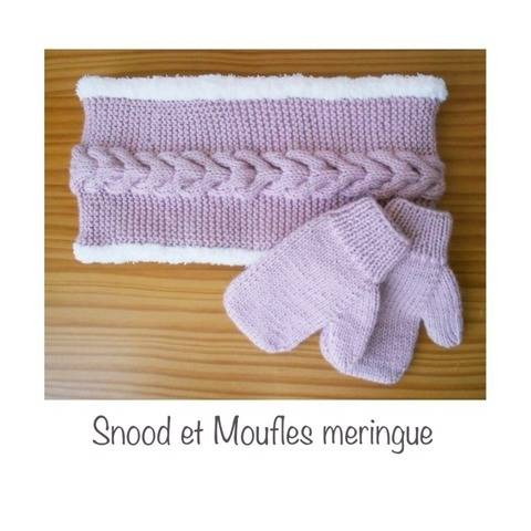 Snood et moufles meringue