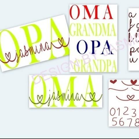 Plotterdatei Oma Opa in Love  SVG mit Schrift
