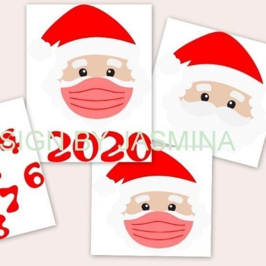Plotterdatei Weihnachtsmann mit Maske und Zahlen SVG  bei Makerist - Bild 1