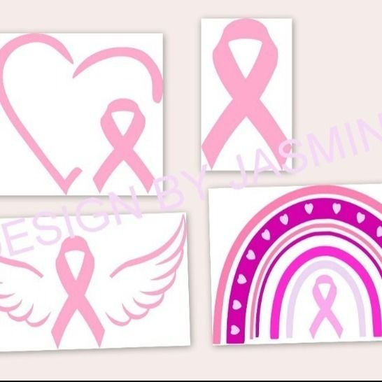 Plotterdatei Brustkrebs Regenbogen Herz Flügel bei Makerist - Bild 1