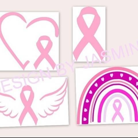 Plotterdatei Brustkrebs Regenbogen Herz Flügel