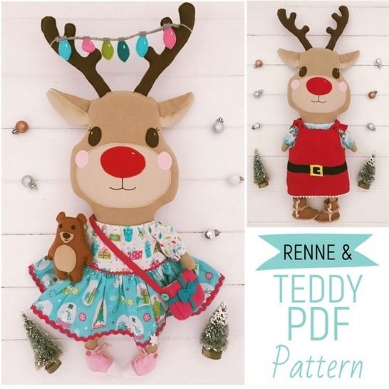 Reindeer Plush Christmas Advent Doll with Teddy PDF Pattern at Makerist - Image 1