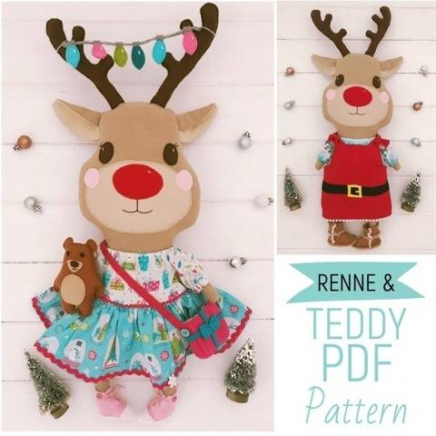 Reindeer Plush Christmas Advent Doll with Teddy PDF Pattern