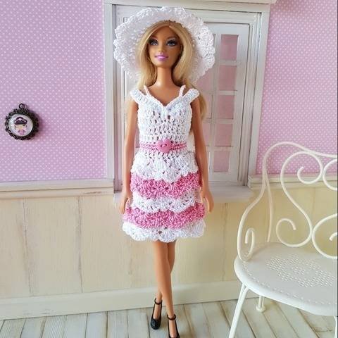 """Lace and Ruffles"" crochet pattern for Barbie"
