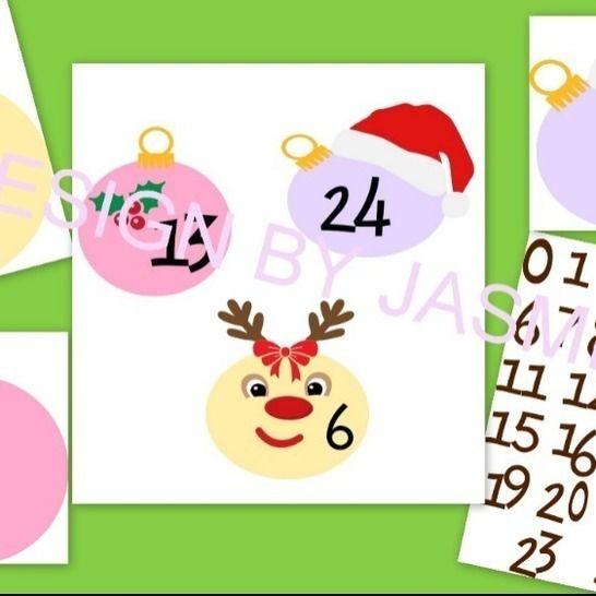 Plotterdatei Adventskalender Weihnachten  Kugeln SVG  bei Makerist - Bild 1