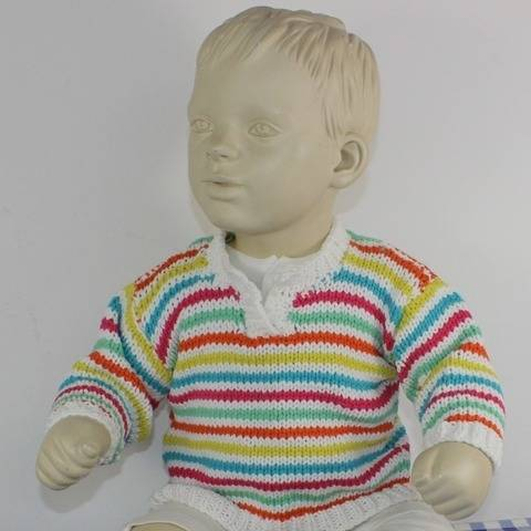 Baby Stripe Open Neck Sweater