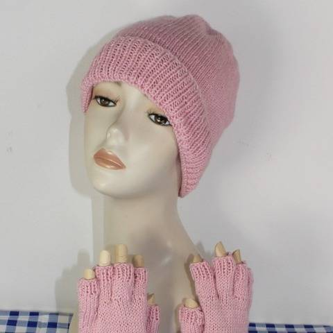 Circular Beanie Hat & Short Finger Gloves