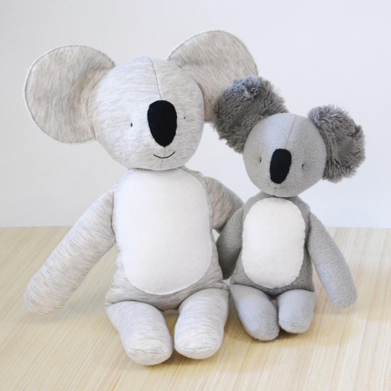 koala plush stuffed animal sewing pattern, small and large
