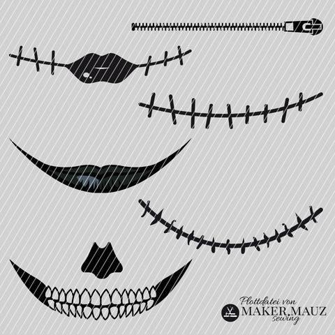 Plotterdatei Halloween Mund Maske (DXF, SVG, PNG, JPG)