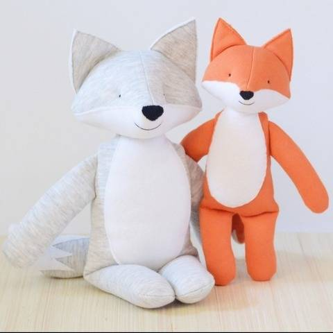 Wolf and fox plush stuffed sewing pattern, small and large