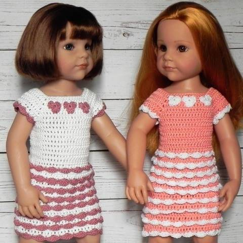 "18"" doll ruffles dress (45-50cm doll) crochet pattern"
