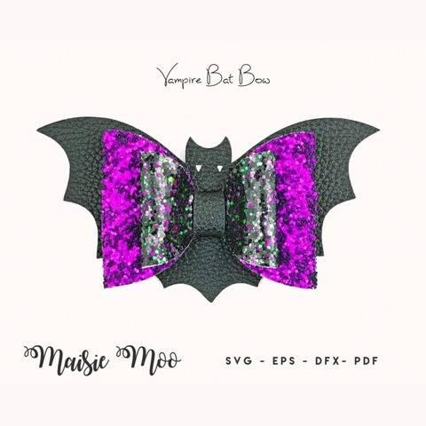 Vampire Bat Hair Bow SVG   Halloween Bow Template