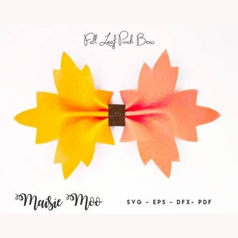 Fall Leaf Pinch Bow SVG, Halloween Leaf Template SVG